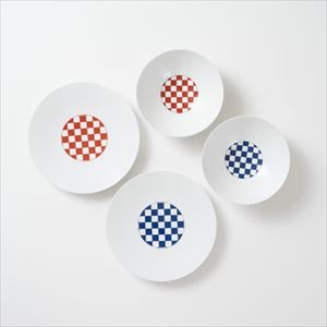 [Set of 4] [Exclusive box] Wa-Modern / Ichimatsu / Deep plate & Chuzara / Eiho porcelain