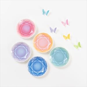 [Set] [Exclusive box] Butterfly chopstick rests 5 colors & Arita Jewel Round 5pc / Floyd