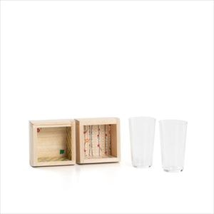 [Set] Ume and Uguisu Glass set / Fuku Masu Masu / Wooden sake cup / Masuda Kiribako