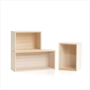 [Set of 3] [Exclusive box] Wooden kitchen canister / Rectangle S × 2 / Rectangle M × 1 / Masuda Kiribako