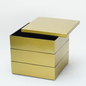 [Set] Jubako box / Gold / 6.5 sun / With Partition cup + Ume Mizuhiki band