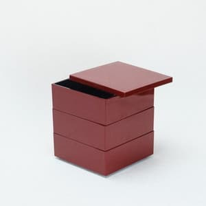 [Set] Jubako box / Carmine / 4.5 sun / With Partition cup + Ume Mizuhiki band
