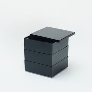 [Set] Jubako box / Jet Black / 4.5 sun / With Partition cup + Ume Mizuhiki band