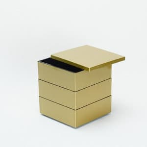 [Set] Jubako box / Gold / 4.5 sun / With Partition cup + Ume Mizuhiki band