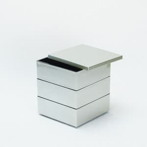 [Set] Jubako box / Silver / 4.5 sun / With Partition cup + Ume Mizuhiki band