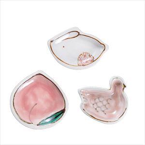 【セット】手のひら縁起豆皿 かわいい3点セット 化粧箱入/九谷焼 双鳩窯