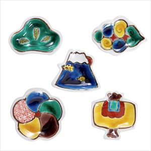 [Set of 5] [Exclusive box] Kutani Gosai mamezara set / Tenohira Engi / Kutani ware / Soukyu porcelain