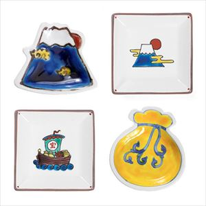 [Set of 4] [Exclusive box] Auspicious mamezara set / Tenohira Engi & KOTOHOGI / Kutani ware / Soukyu porcelain