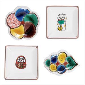 【セット】手のひら縁起と寿 福まねく豆皿4点セット 化粧箱入/九谷焼 双鳩窯