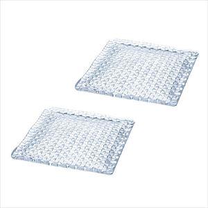 【セット】grid plate 24cm角皿 クリアー ペア 化粧箱入/プレート/Sghrスガハラ