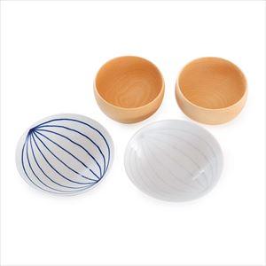 【セット】平茶碗とめいぼく椀 ナチュラル夫婦椀セット ブルー&ホワイト 化粧箱入