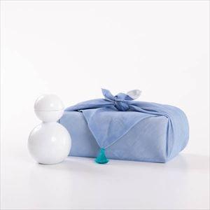 【セット】酒器だるま 釉薬(艶あり) 水色の布巾包/酒器/ceramic japan