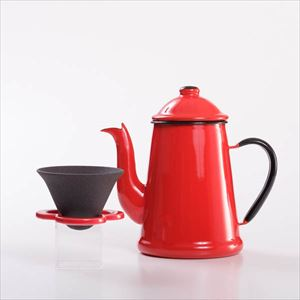 [Set] [Exclusive box] Glossy hand drip set / L'ambre pot & Caffe hat / Red