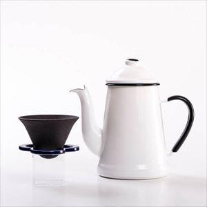 【セット】ランブルポットのカフェハットのつやつやハンドドリップセット 白&青/化粧箱入