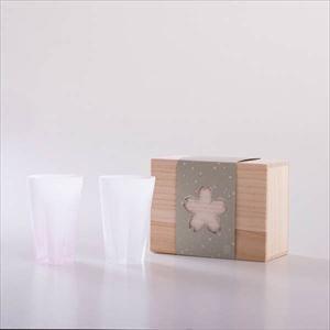 さくらさくグラス 雪桜 タンブラー 紅白 桐箱入/グラス/100percent