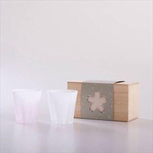 さくらさくグラス 雪桜 ロック 紅白 桐箱入/グラス/100percent