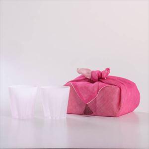 さくらさくグラス 雪桜 ロック 紅白 ピンクの布巾包/グラス/100percent