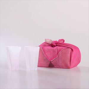 さくらさくグラス 雪桜 タンブラー 紅白 ピンクの布巾包/グラス/100percent