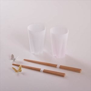 [Set of 4] [Exclusive box] Sakura and Butterfly Advent of Spring set / Pair tumbler and 2 pairs of chopsticks / Gold & Silver