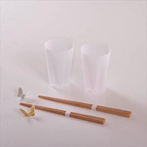 【セット】さくらと蝶々 春の訪れセット 紅白金銀 化粧箱入/ペアグラスと夫婦箸
