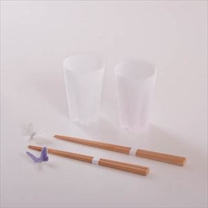 [Set of 4] [Exclusive box] Sakura and Butterfly Advent of Spring set / Pair tumbler and 2 pairs of chopsticks / White & Purple