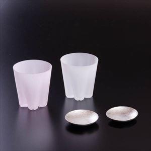 【セット】さくらと錫の夜桜セット 化粧箱入/ロックグラスと豆皿ペア
