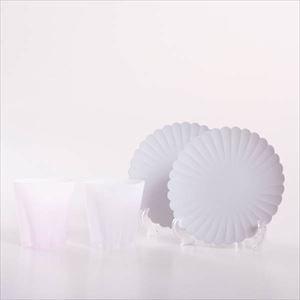 【セット】桜と菊の優雅な晩酌セット 化粧箱入/ロックグラスとプレートのペア