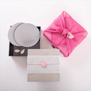 [Tamatebako set] [Dish cloth wrapping] Hanami dinner pair / Single Jubako box (L)