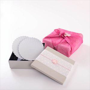 【玉手箱セット】お花見パレスプレートペア 鈍色一段重(大) ピンクの布巾包