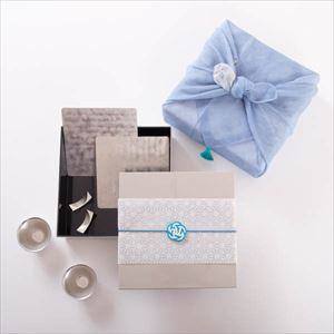 [Tamatebako set] [Dish cloth wrapping] Tin sake set pair / Single Jubako box (L)