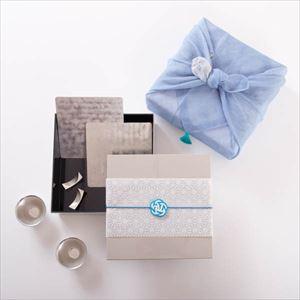 【玉手箱セット】錫の晩酌ペア 一段重(大) 青の布巾包