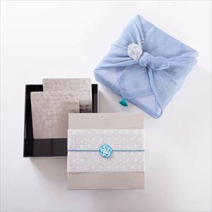 【玉手箱セット】錫のお皿ペア 一段重(大) 青の布巾包包