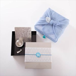 [Tamatebako set] [Dish cloth wrapping] Tin sake set for 1 / Single Jubako boxes (L)