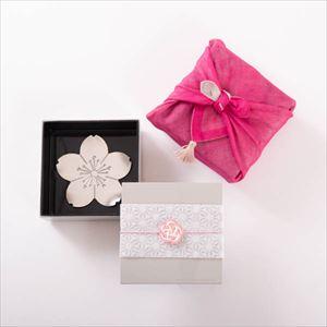 【玉手箱セット】錫桜のトレー 一段重(小) ピンクのハンカチ包み