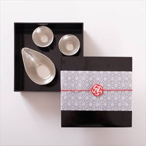 [Tamatebako set] Tin sake set / Single Jubako box (L)