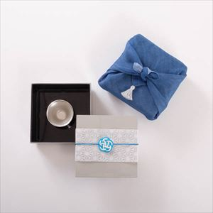 [Tamatebako set] [Handkerchief wrapping] Mini tin sake set for 1 / Single Jubako box (S)
