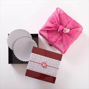 【玉手箱セット】お花見パレスプレートペア 紅一段重(大) ピンクの布巾包