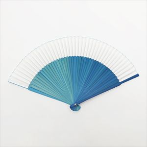 [Paulownia box] Gradation fan / Blue / Nishikawa Shouroku shouten