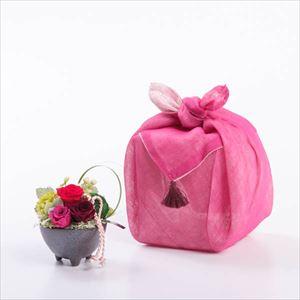 【セット】可愛いお花のふきん包 レッド/フラワーギフト