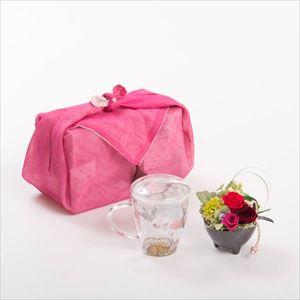 【セット】お花とくつろぐカフェタイムセット レッド ふきん包/フラワーギフト