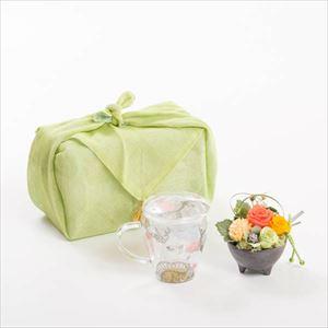 【セット】お花とくつろぐカフェタイムセット オレンジ ふきん包/フラワーギフト