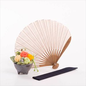 [Set] [Exclusive box] Flower & Fuwari fan / Flower gift / Orange