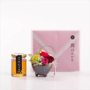 【セット】お花とりんごはちみつ・ハンカチのセット レッド 化粧箱入/フラワーギフト