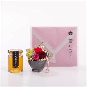 【セット】お花と北海道はちみつ・ハンカチのセット  レッド 化粧箱入/フラワーギフト