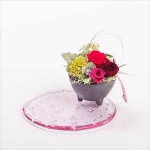 【セット】お花と水玉ガラスプレート レッド 化粧箱入/フラワーギフト