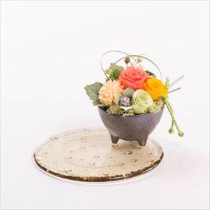 【セット】お花と水玉ガラスプレート オレンジ 化粧箱入/フラワーギフト