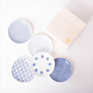 【セット】印判小皿 5枚組 桐箱入/東屋