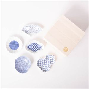 【セット】印判豆皿 5枚組モチーフ 桐箱入/東屋