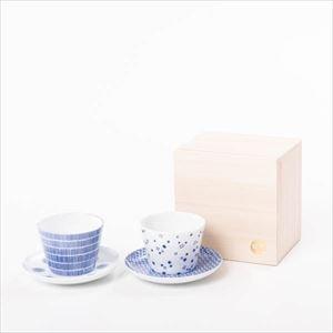 【セット】印判小皿&そばちょこ ペア あめあられ 桐箱入/カップ&ソーサー/東屋