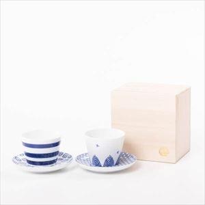 【セット】印判小皿&そばちょこ ペア 鳥と木と輪 桐箱入/カップ&ソーサー/東屋